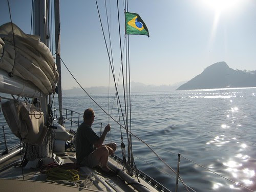 raising Brazil courtesy flag