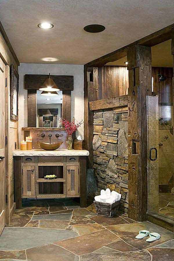 30 Inspiring Rustic Bathroom Ideas for Cozy Home - Amazing ...