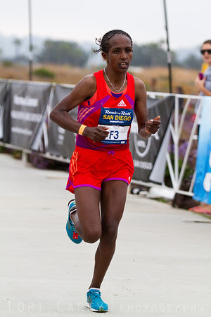 Woynishet Girma comes down the home stretch to finish 3rd in the Women's Elite division of the San Diego Rock and Roll Marathon on June 3, 2012 with a time of 2:33:59.