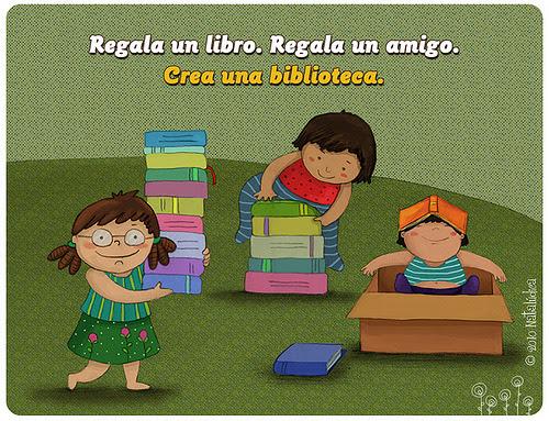 Gives books / Regala libros (ilustración de Natali Sejuro Aliaga)
