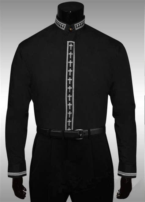 Cross Clergy Collar Cross Placket Dress Shirt Dark color bla