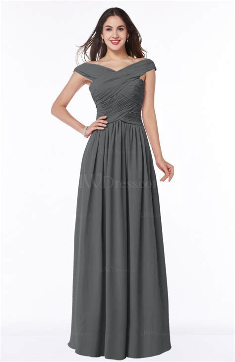 Grey Traditional A line Sleeveless Chiffon Floor Length