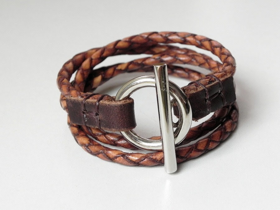 Leather Bracelet Tan Braided Leather Cuff Wrap Bracelet with Toggle Clasp