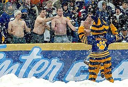 Sabres fans shirtless