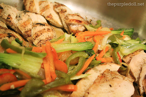Grilled Chicken Breast Stir Fried Vegetables Chicken Jus