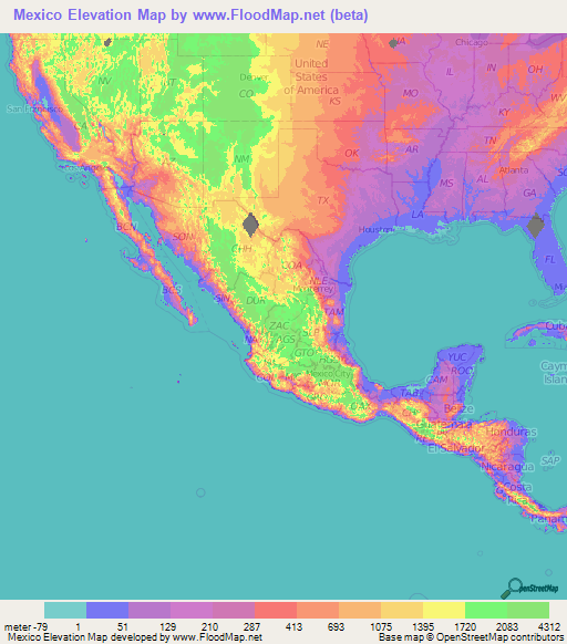 Elevation Map Mexico   Map Of Us Western States