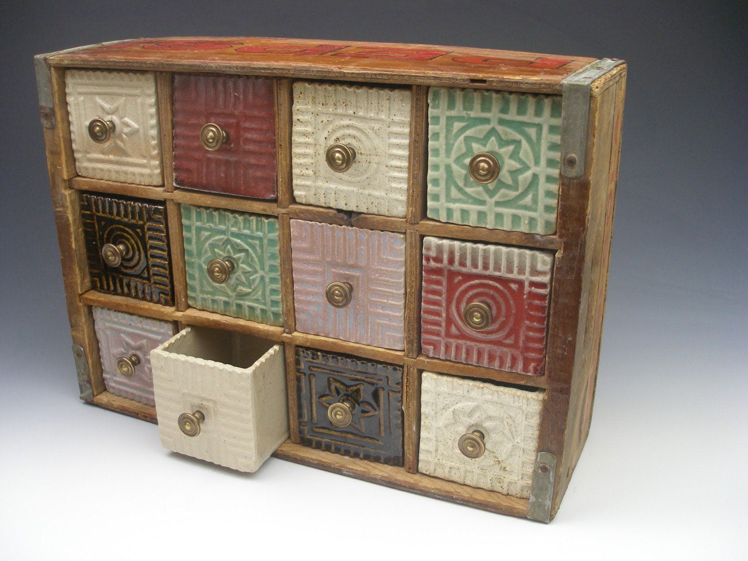 soda crate with ceramic drawers I