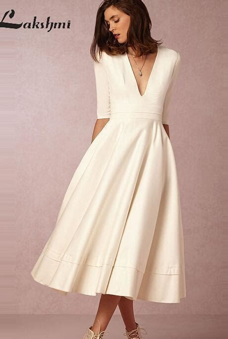 Vintage Tea Length Wedding Dresses with Half Sleeve Deep V