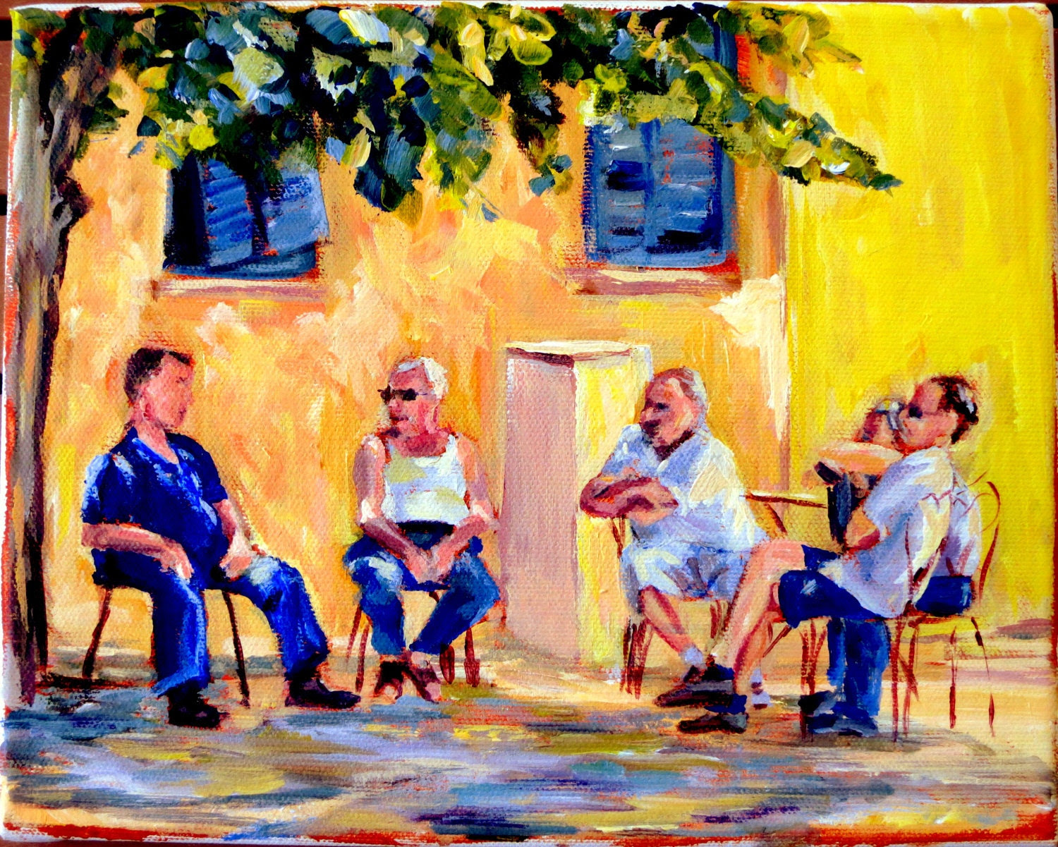 "Figure Painting- 8x 10 Original Acrylic on Canvas, ""Old Men Alfresco"""