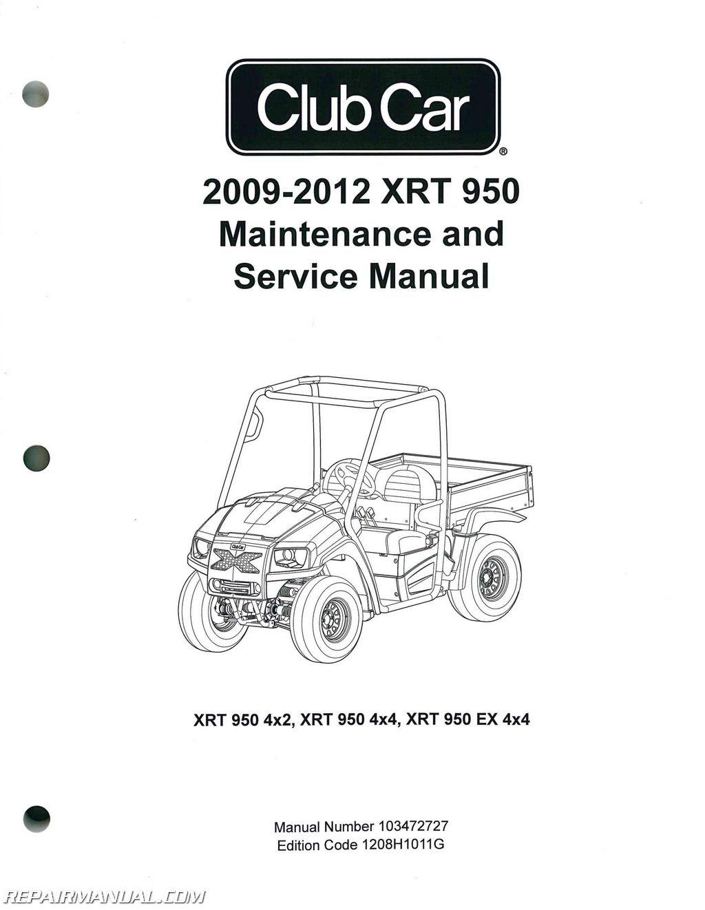 2009-2012 Club Car XRT 950 Maintenance Golf Cart Service ...