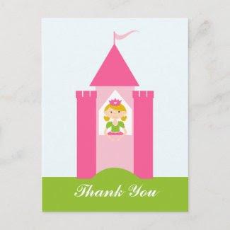 Fairy princess castle thank you postcard postcard