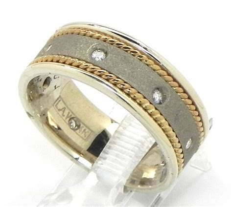 Men's 14k Two Tone Diamond Twisted Wire Wedding Band