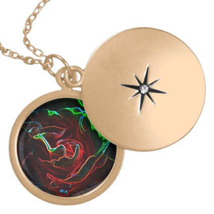Abstract Rose Round Locket Necklace