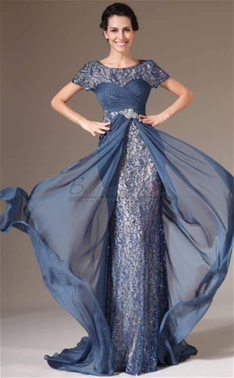 Ink Blue Long Chiffon and Lace Empire Waist Mermaid