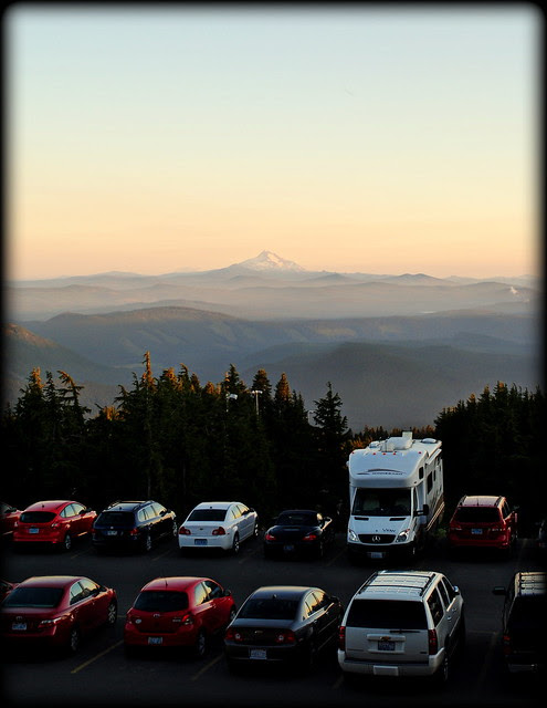 View of Timberline Lodge's parking lot