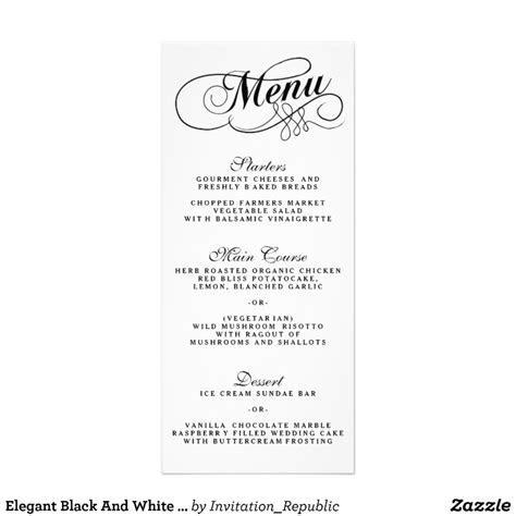 Elegant Black And White Wedding Menu Templates   Zazzle