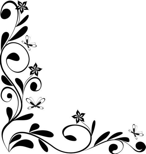 Black And White Flower Border   Clipartion.com
