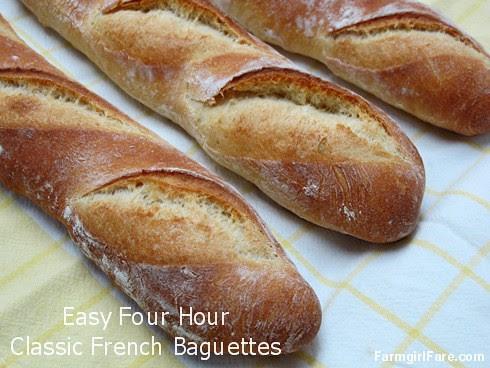 Four Hour Parisian Daily Baguettes, an easy French bread recipe - FarmgirlFare.com