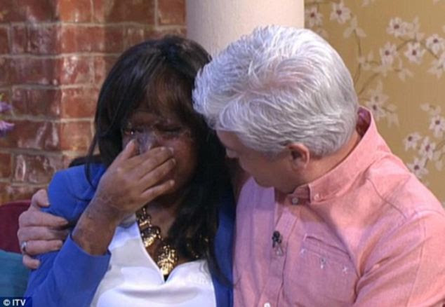 Emotional: Naomi Oni, 20, pictured with This Morning host Phillip Schofield earlier this month