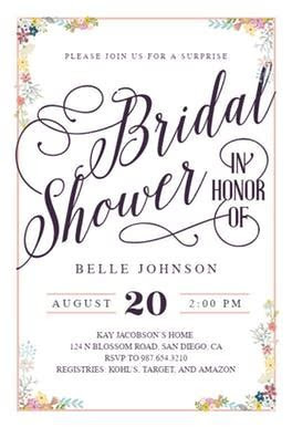 Calligraphy Shower   Free Bridal Shower Invitation