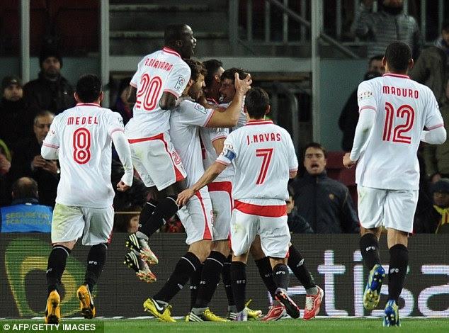 Good start: Seville got off to a good start as they stunned Barcelona