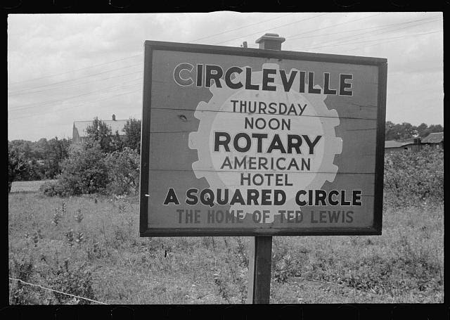 Sign on outskirts of Circleville, Ohio (see general caption)