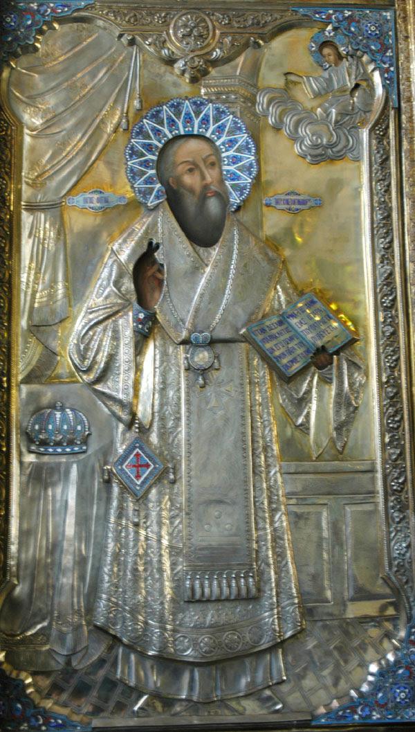 grande icone orthodoxe avec rizza, representant saint Photios le grand