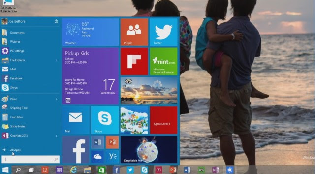 Windows 10 Technical Preview Start menu