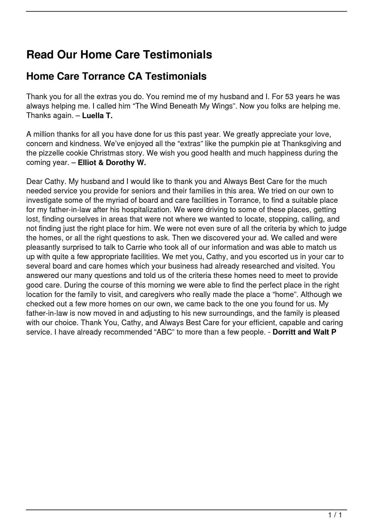 Calaméo Read Our Home Care Testimonials