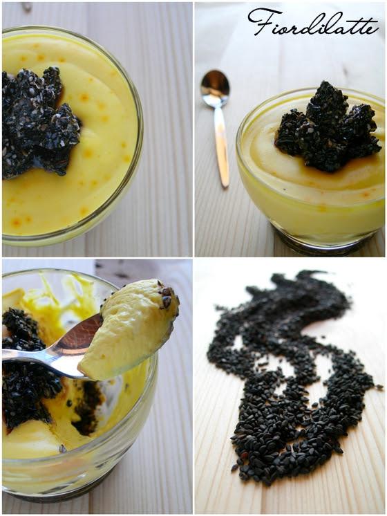 Mousse allo zafferano e croccante di sesamo nero