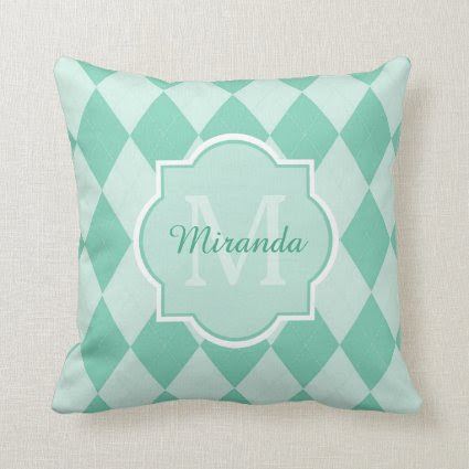 Preppy Mint Green Argyle Girly Monogram and Name Throw Pillows