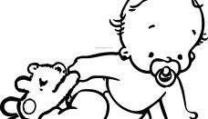 Oynayan Bebek Boyama Sayfası