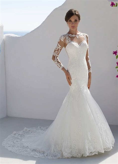 Mark Lesley 7202 Lace sleeved fitted wedding dress