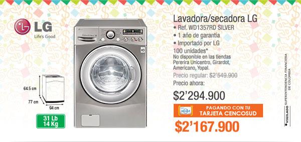 Laavadora/Secadora LG  • Ref. WD1357RD Silver • Potencia 3.200 W RMS • Importado por LG • 1 año de garantía • Importado por LG Electronics 100 unidades - Antes: $2.549.900 PRECIO: $2.294.900 TMC: $2.167.900