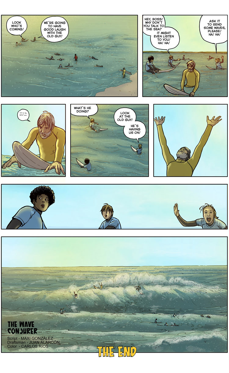 The Wave Conjurer (Page 6): a surf comic by Maxi González, Juan Martínez Alarcón, and Carlos Rios