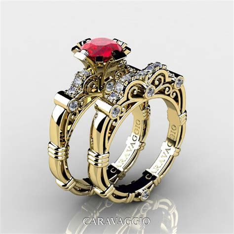 Art Masters Caravaggio 14K Yellow Gold 1.0 Ct Ruby Diamond