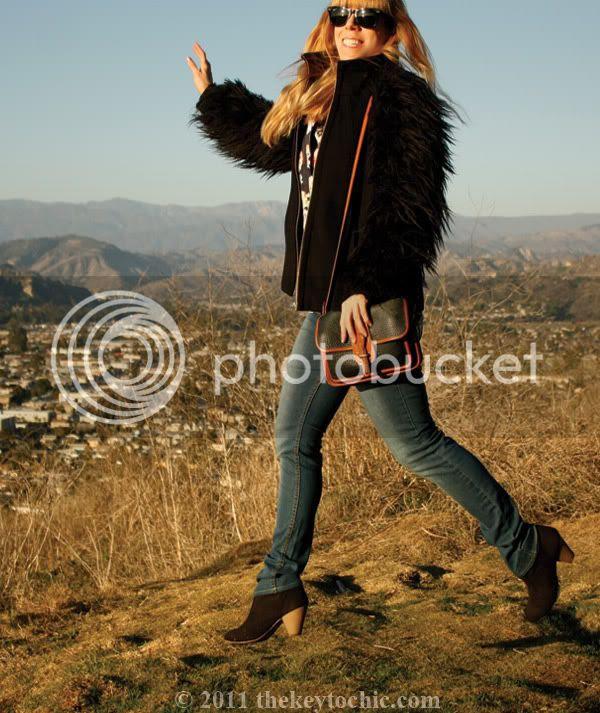 Zara faux fur jacket, gorilla sleeves, Dooney and Bourke handbag, Mossimo Kacey boots, southern California fashion blog, Los Angeles fashion blogger