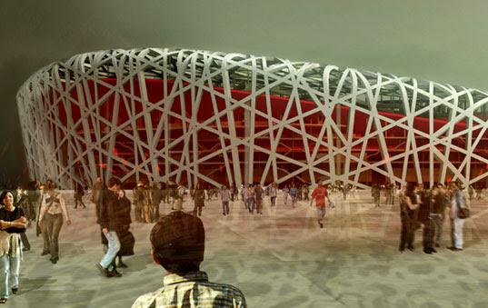 Beijing Olympic Stadium, Beijing Olympics 2008, Birds Nest building, Herzog DeMeuron, Green stadium building,