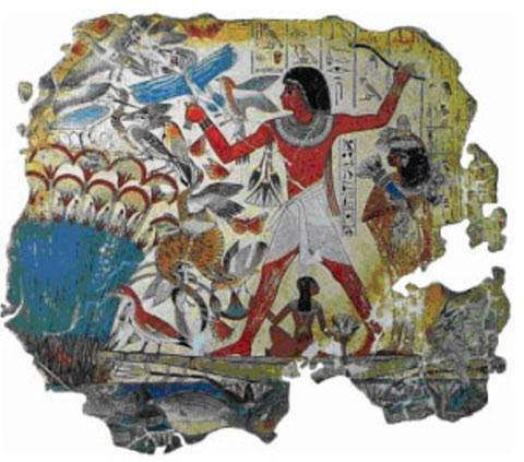 Egyptian painting with an obvious use of the pigment Egyptian Blue. 'Hunting in the marshes' (fragment), tomb chapel of Nebamun.