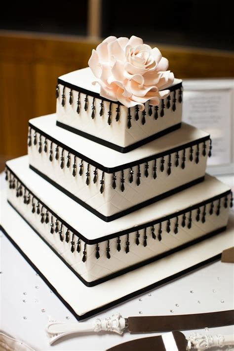 Quilted Square Wedding Cake with quilting, black beaded