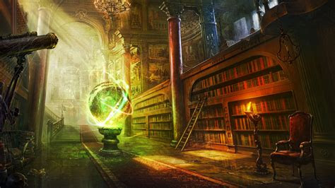 full hd wallpaper ancient wizard library chair spell