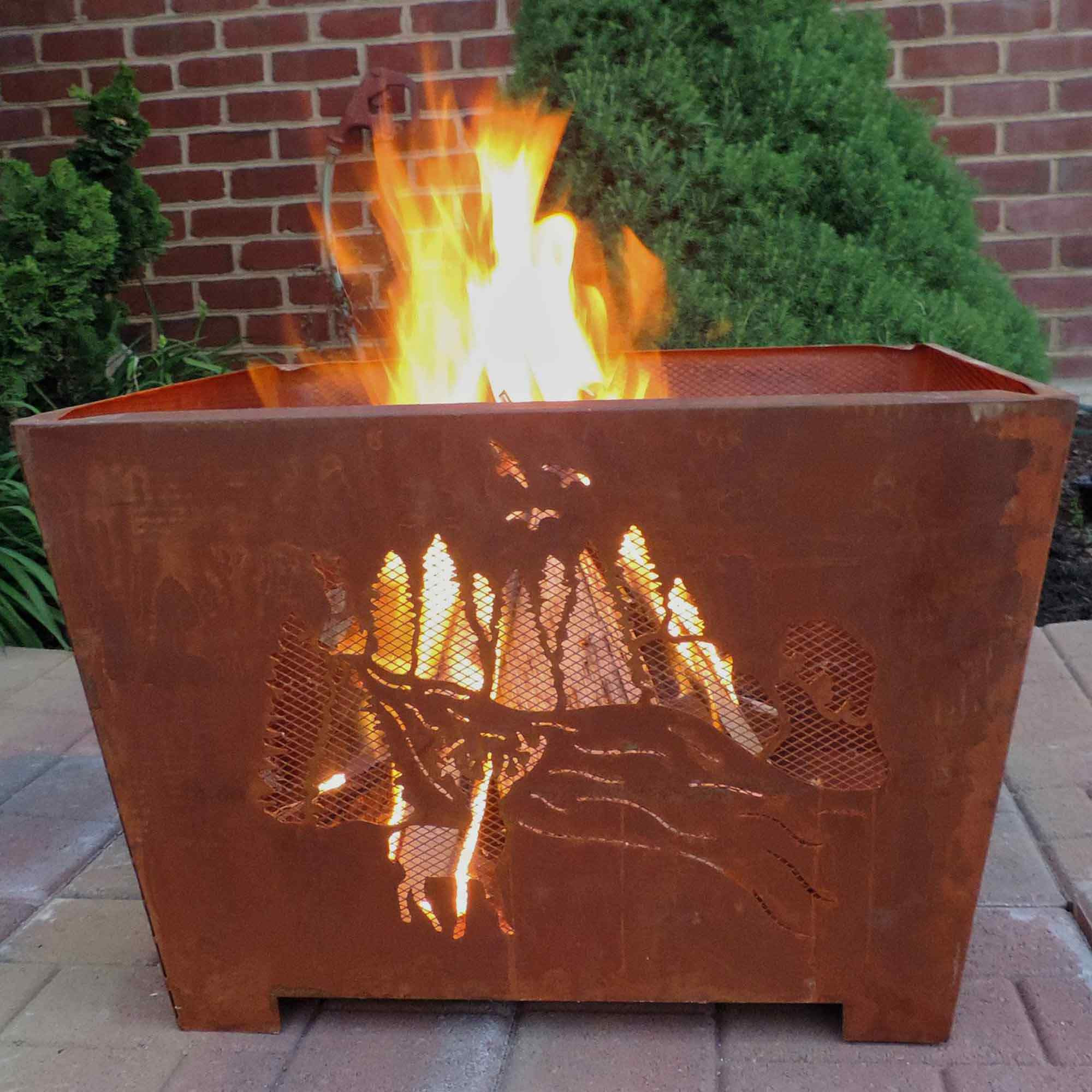 Nature Scene Fire Basket With Rust Metal Finish By Esschert Designs