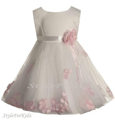 baby girl whitepink flowergirl dress christening wedding