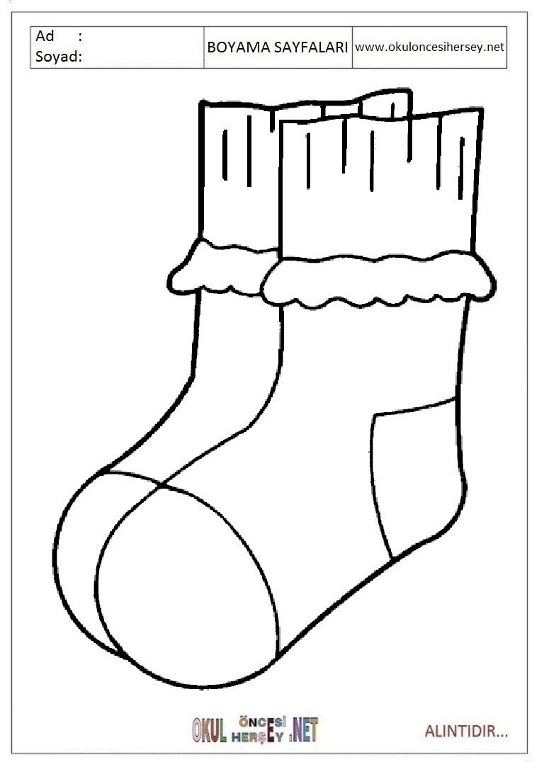 çorap Boyama Sayfaları