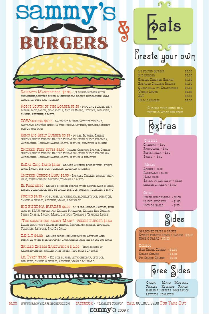 Sammys Food Menu 2009 -2010