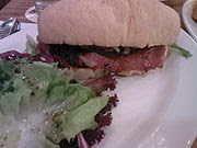 Beef pastrami served in ciabatta.