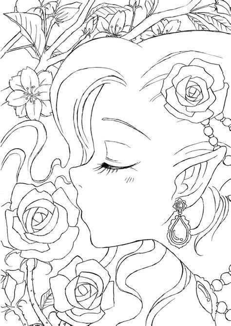 anime fairy drawing outline sketch coloring page