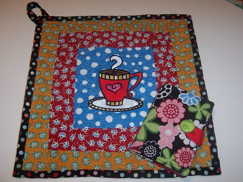 Quilted Embroidered Hot Pad