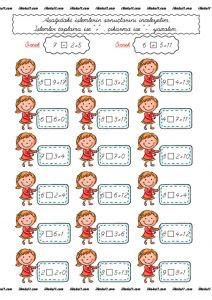 1 Sınıf Toplama çıkarma çalışma Sayfaları Sınıf öğretmenleri