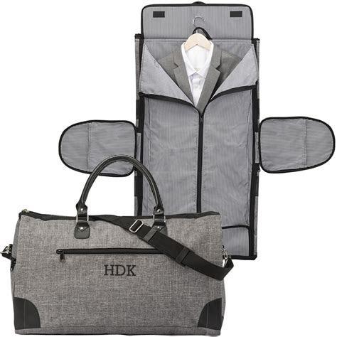 Mens Gray Crosshatch Convertible Carry On Garment Bag